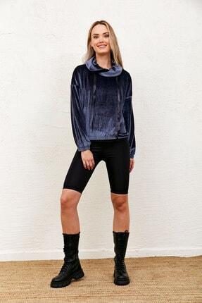 Eka Kadın Gri Kadife Degaje Yaka Yakası Bağcıklı Sweatshirt 2
