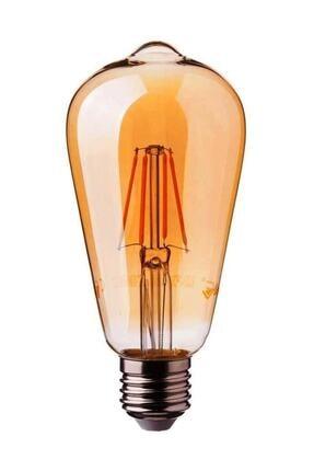 Heka St64 Filament Edison Tip Rustik Ampul 8 Watt Led Ampul Sarı Işık 2700k 0