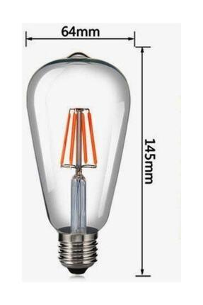 Heka St64 Filament Edison Tip Rustik Ampul 8 Watt Led Ampul Sarı Işık 2700k 1