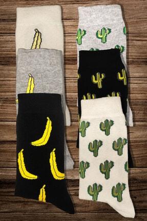 Moon Socks Unisex Muz Ve Kaktüs Desenli Tasarım Kısa Çorap 1