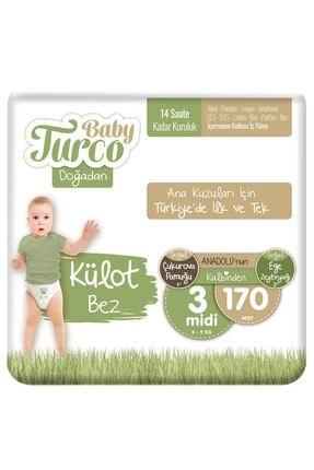 Baby Turco Doğadan Külot Bez 3 Numara Midi 170 Adet 0
