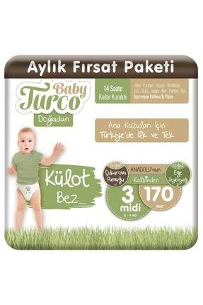 Baby Turco Doğadan Külot Bez 3 Numara Midi 170 Adet 1