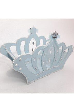 Sevgi Bağı Ahşap Kral Tacı Bebek Şekeri Sepeti Hediyelik Sepeti Mavi 4