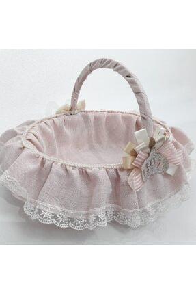 Sevgi Bağı Bebek Şekeri Sunum Sepeti Linen Simli Keten Kumaş Avangart 1