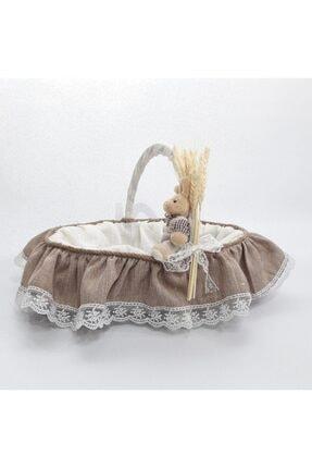 Sevgi Bağı Bebek Şekeri Sunum Sepeti Linen Keten Kumaş Avangart Başak Buğday 0