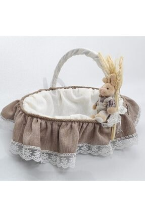 Sevgi Bağı Bebek Şekeri Sunum Sepeti Linen Keten Kumaş Avangart Başak Buğday 1