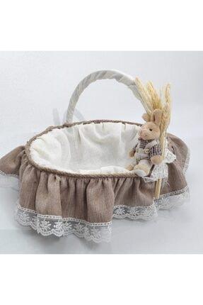 Sevgi Bağı Bebek Şekeri Sunum Sepeti Linen Keten Kumaş Avangart Başak Buğday 3
