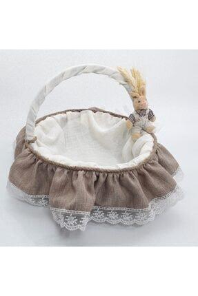 Sevgi Bağı Bebek Şekeri Sunum Sepeti Linen Keten Kumaş Avangart Başak Buğday 4