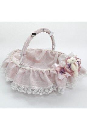 Sevgi Bağı Bebek Şekeri Sunum Sepeti Linen Simli Keten Kumaş Avangart 4