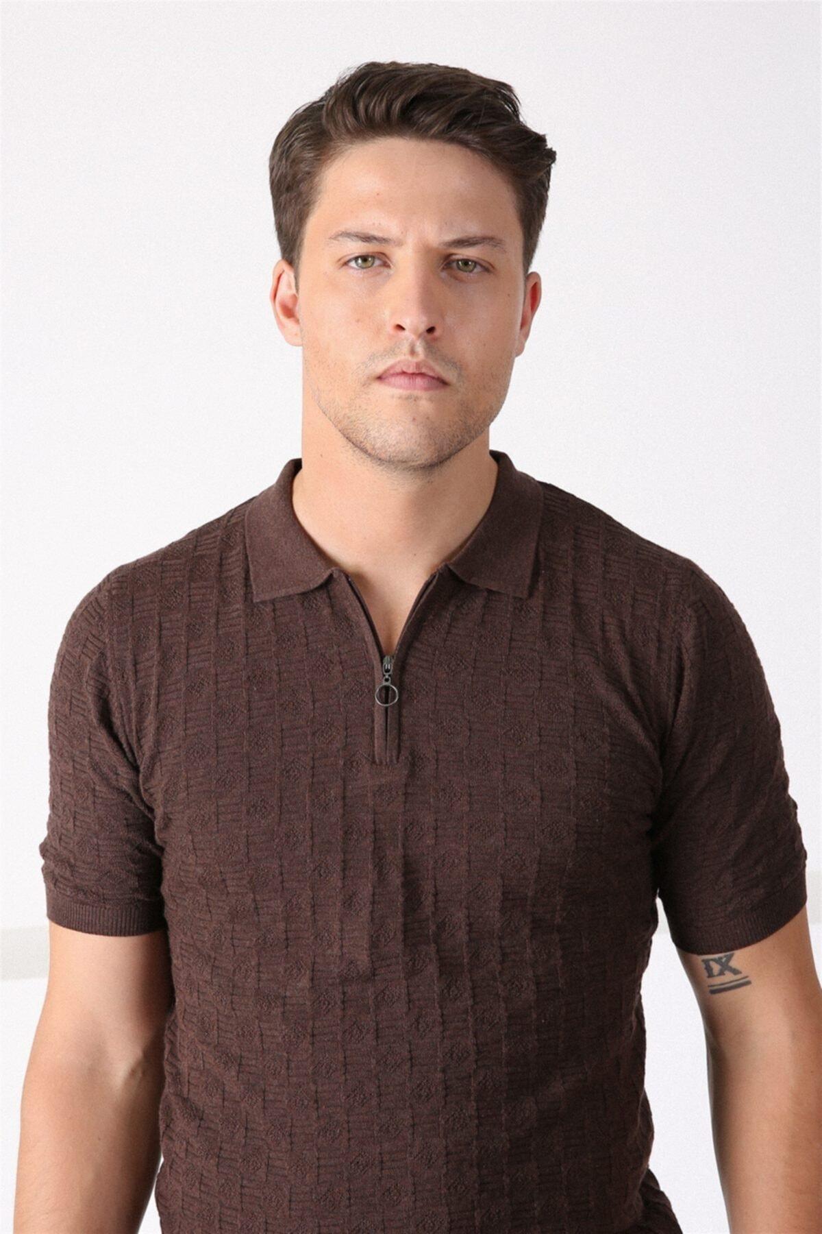 Erkek Kahve Polo Yaka Fermuarlı Pamuk Triko Tshirt