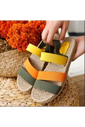 Muggo Kadın Yeşil Şeritli Sandalet 2