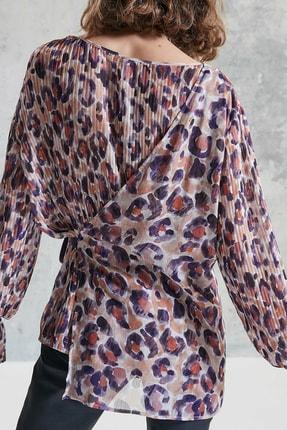 Yargıcı Kadın Mor Desenli Plise Detaylı Bluz 0KKGM6019X 1