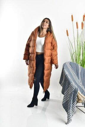 Linada Outfit Kadın Taba Uzun Oversize Şişme Mont 1
