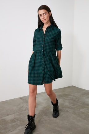 TRENDYOLMİLLA Petrol Gömlek Elbise TWOAW21EL2090 3