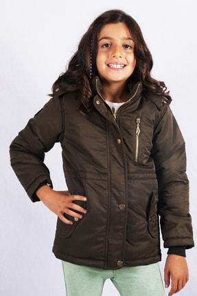 Kız Çocuk Haki Kürk Astarlı Kaban resmi