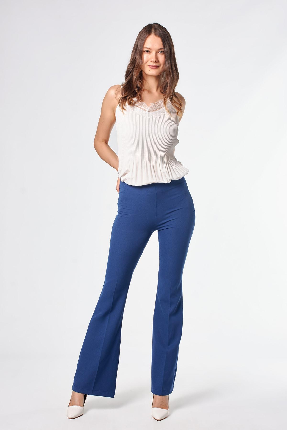 Ispanyol Paça Indigo Kadın Pantolon
