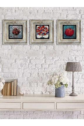 Oscar Stone Decor Çerçeveli Taş Duvar Dekoru Tablo Pano 3'lü 20 X 20 Cm Nar Ağacı Bereket Temalı Set 0