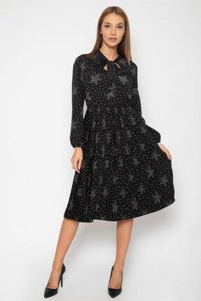 1DEN2YE Kadın Siyah Yakası Bağcılı Elbise 1