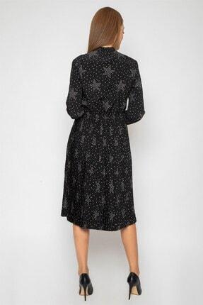 1DEN2YE Kadın Siyah Yakası Bağcılı Elbise 2