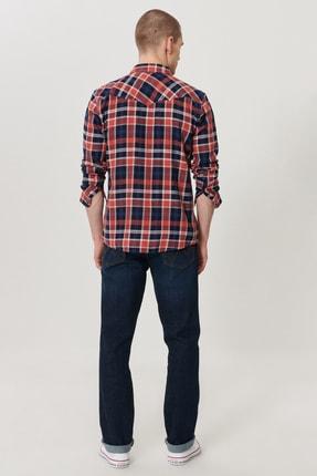 Wrangler Texas Slim Erkek Koyu Mavi Slim Normal Bel Dar Paça Esnek Jean Pantolon 1