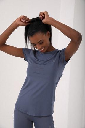 Tommy Life Petrol Kadın Sırt Pencereli Kısa Kol Standart Kalıp O Yaka T-shirt - 97101 2