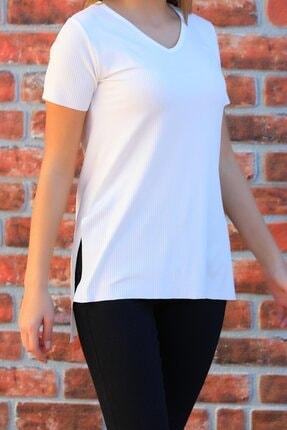 Julude Kadın  V Yaka Yanları Yırtmaçlı Kaşkorse T-shirt 1