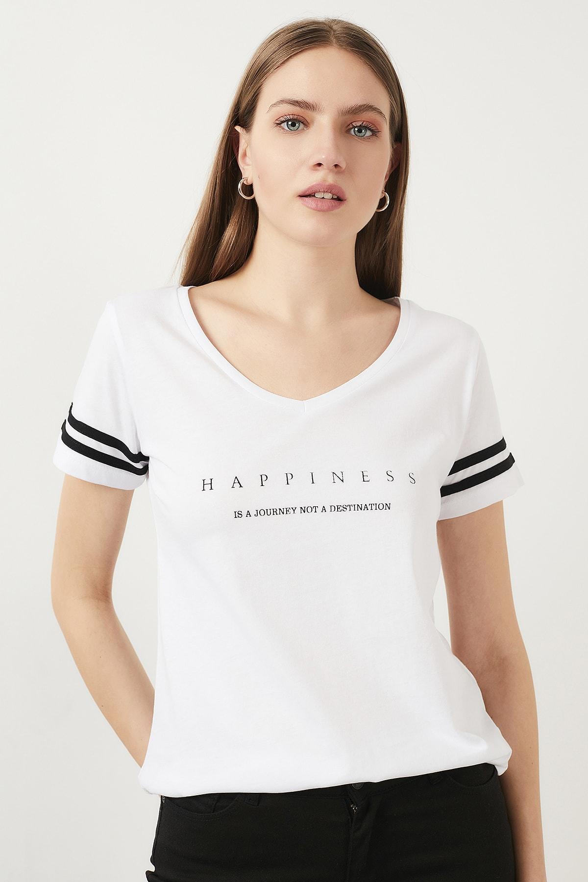 Lela Baskılı V Yaka T Shirt KADIN T SHİRT 5411037 0