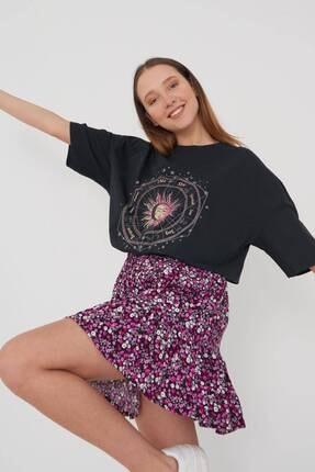 Addax Kadın Füme Baskılı Oversize T-Shirt P9407 - T8 Adx-0000022025 2