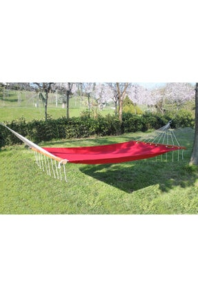 EARABUL Bahçe Hamağı - Çift Kişilik Salıncak Hamak - Renkli Bez Hamak - Kırmızı 0