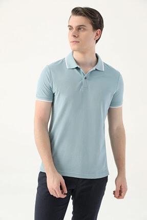 D'S Damat Erkek Yeşil Slim Fit Mint Pike Dokulu T-shirt 1