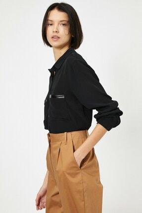 Koton Kadın Deri Detaylı Gömlek 1