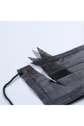 Moda Maske Siyah Renk Ultrasonik 3 Katlı Telli Cerrahi Maske 50 Adet 2