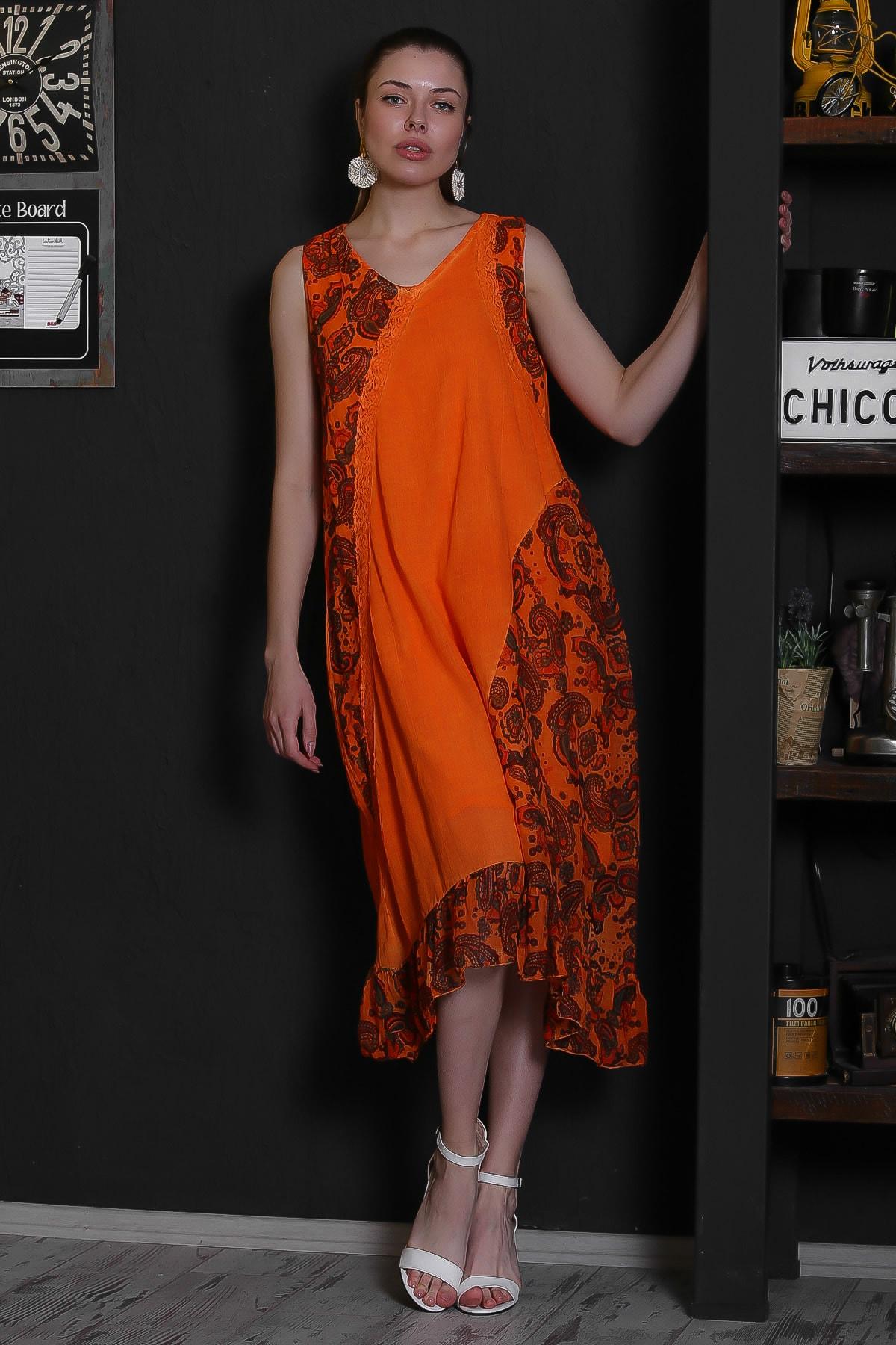Chiccy Kadın Turuncu V Yaka Kolsuz Şal Desenli Tülbent Detaylı Kopenakili Astarlı Elbise M10160000EL95319 1