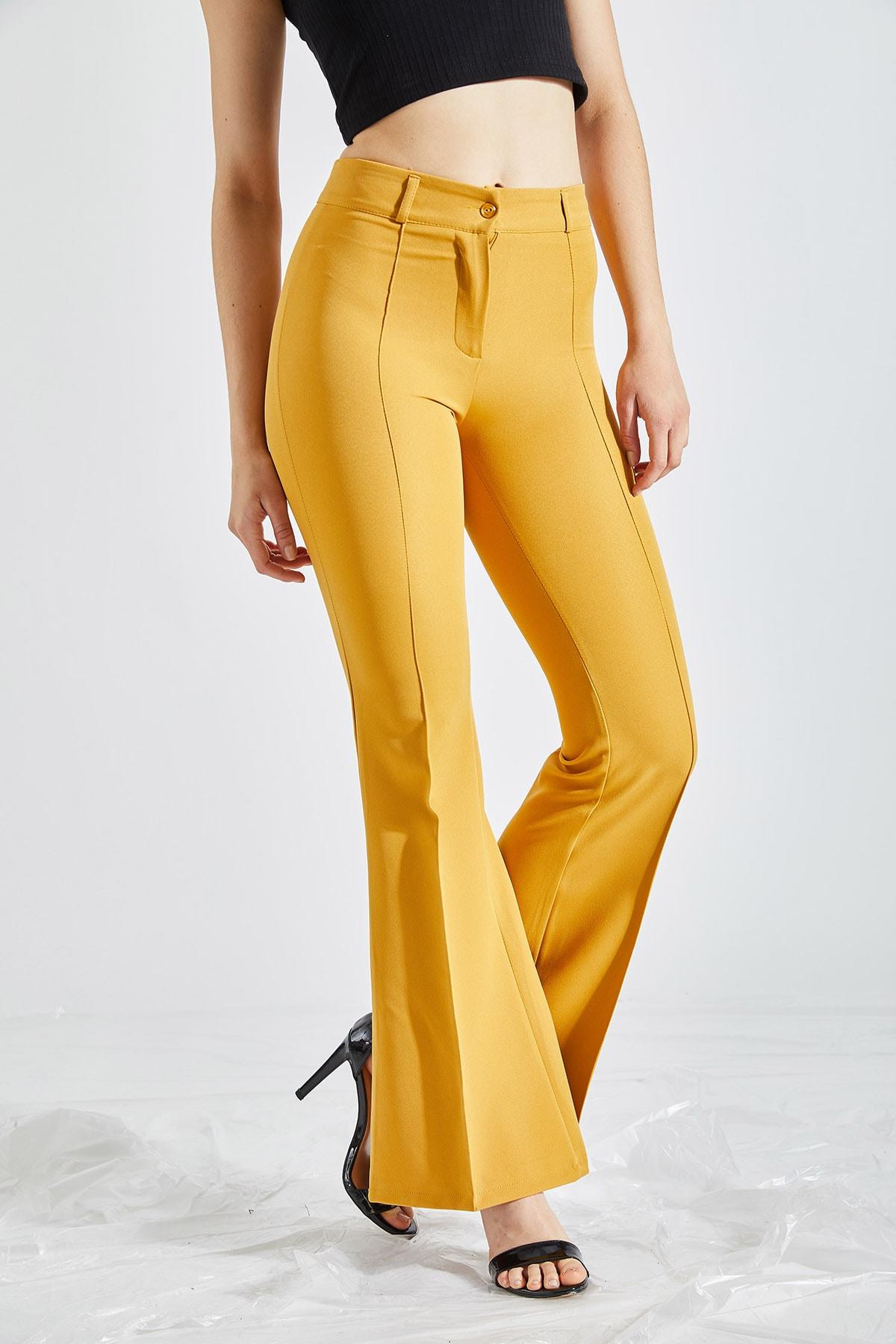 Kadın Sarı Ispanyol Paça Kumaş Pantolon