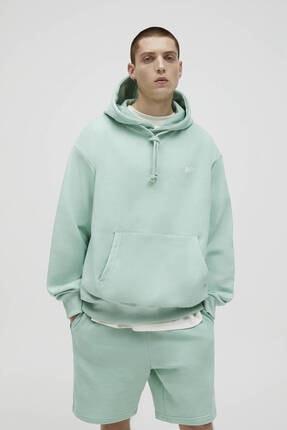 Pull & Bear Erkek Yeşil Basic Renkli Kapüşonlu Sweatshirt 0