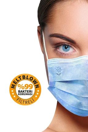 BlueDaisyMask Meltblown Filtreli Cerrahi 3 Katlı Telli Kokusuz Mavi 100'lü Set Maske 4