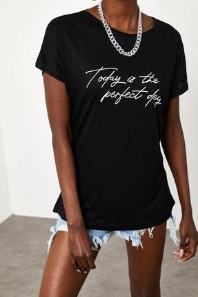 Xena Kadın Siyah Yumuşak Dokulu Esnek Örme Baskılı T-Shirt 1KZK1-11560-02 1