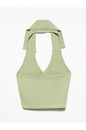 Dilvin Kadın Yeşil V Yaka Arkası Açık Polo Yaka Yelek 1