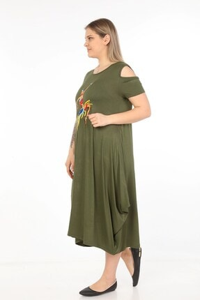 Womenice Kadın Haki Önü Baskılı Büyük Beden Elbise 3