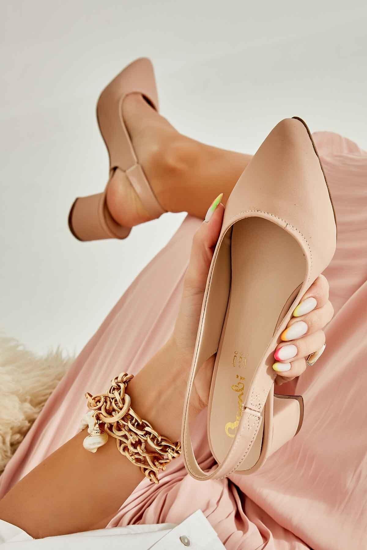 Somon Nubuk Kadın Klasik Topuklu Ayakkabı K01503721071