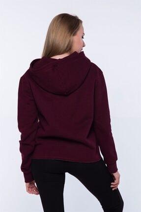 Mlike Fashion Kanguru Cepli Bordo Kapşonlu Kadın Sweatshirt 3