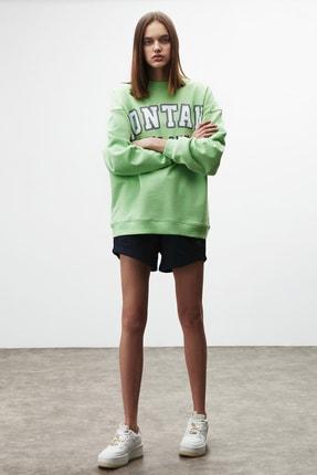 GRIMELANGE RAMONA Kadın Yeşil Önü Baskılı Sweatshirt 3