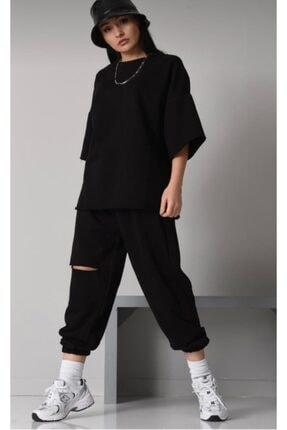 ronay giyim Oversize Kadın Siyah Eşofman Takımı 0