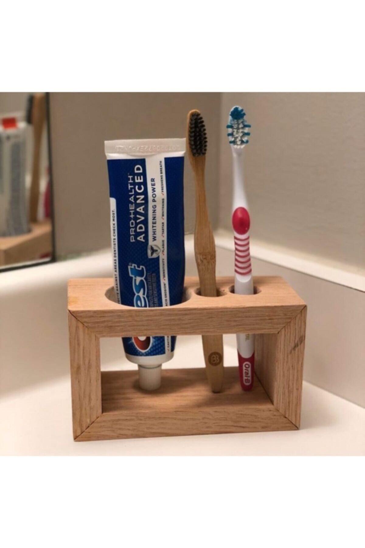 Ahşap Diş Fırçalık & Macunluk Organizer Banyo Rafı