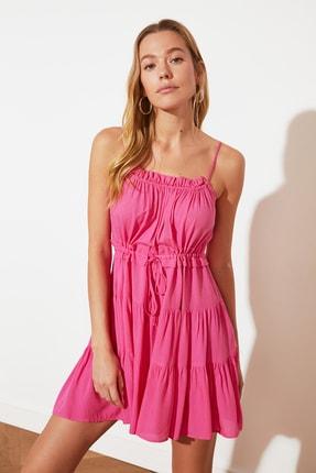 TRENDYOLMİLLA Fuşya Bağlama Detaylı Büzgülü Elbise TWOSS20EL2679 1