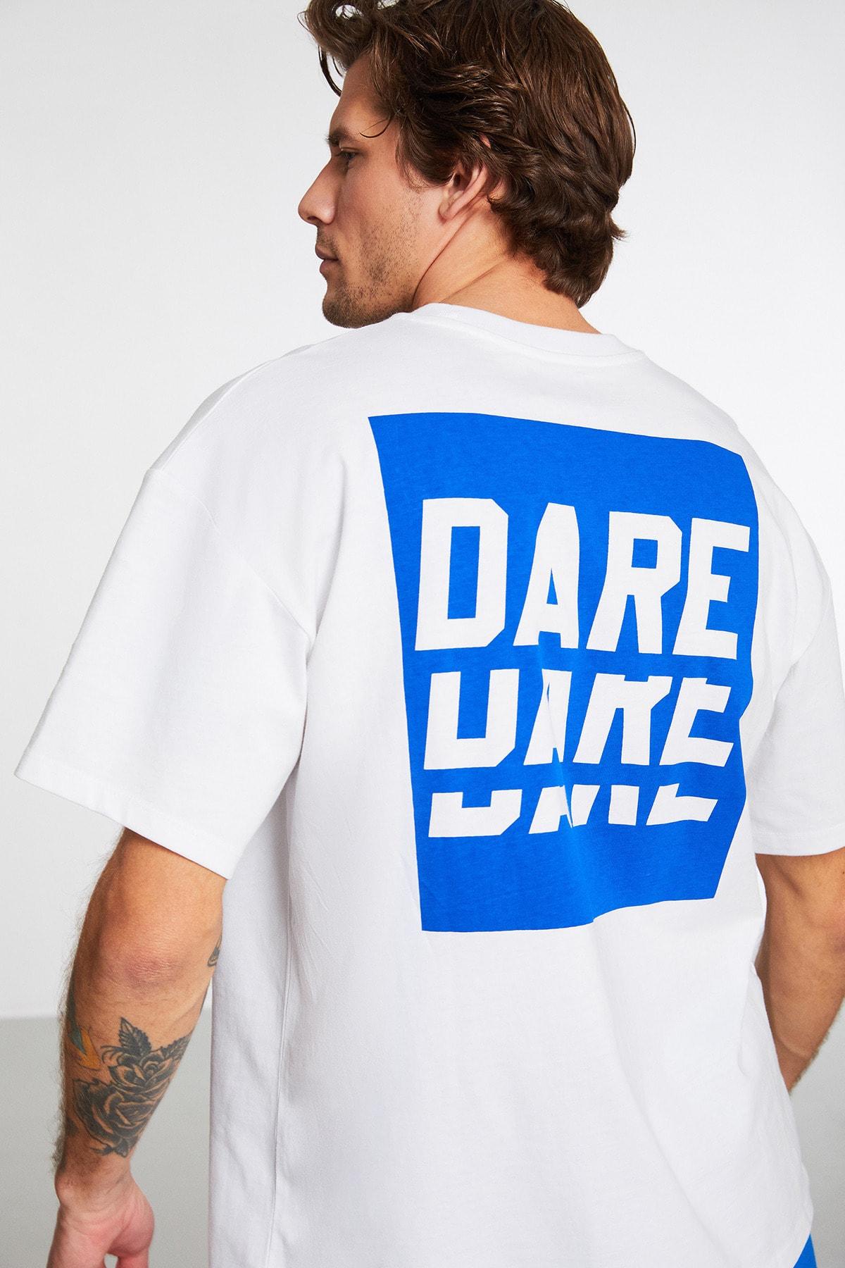 Spotlıght Erkek Beyaz Baskılı Bisiklet Yaka T-shirt