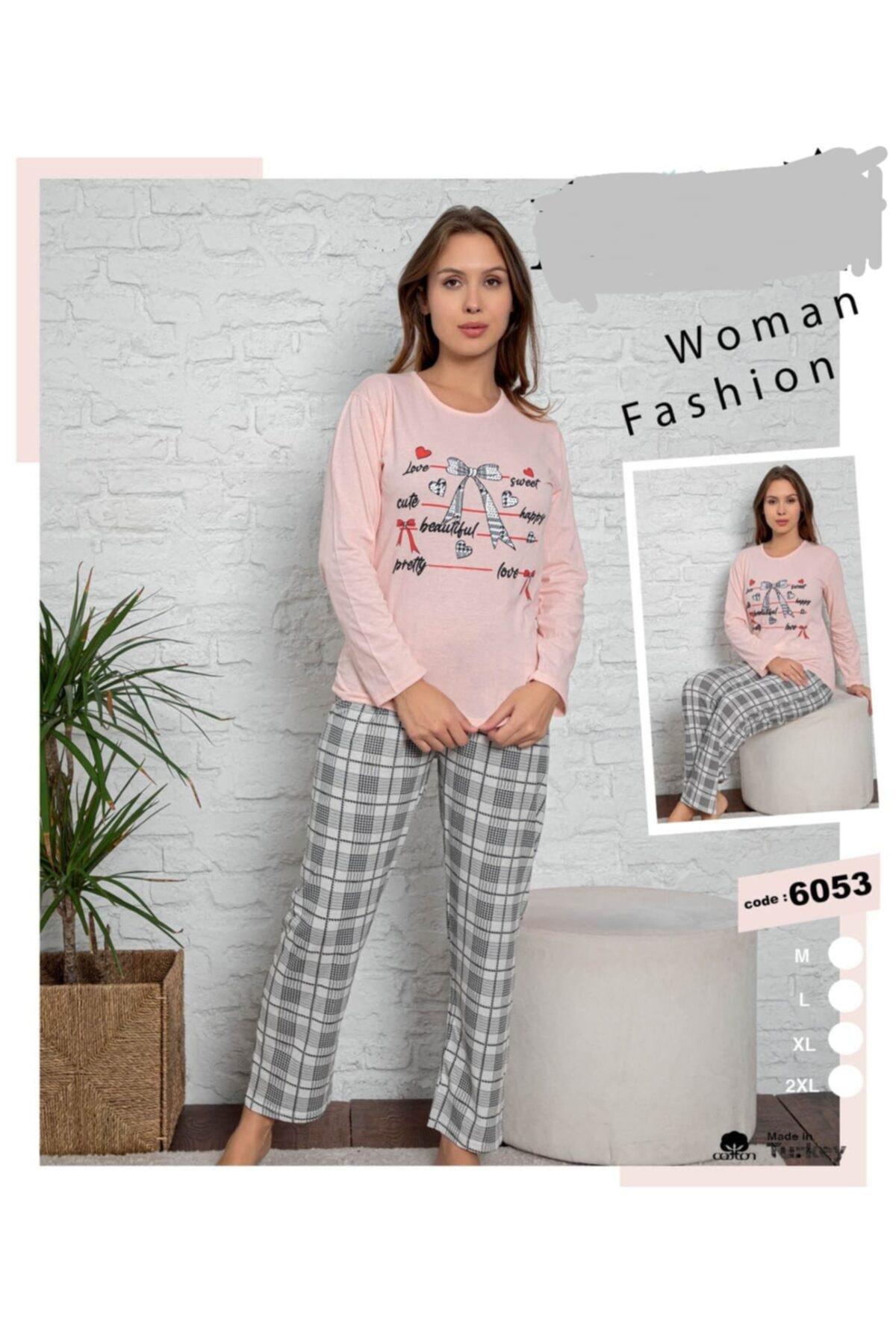Pamuklu Uzunkollu Pembe Pijama Takımı