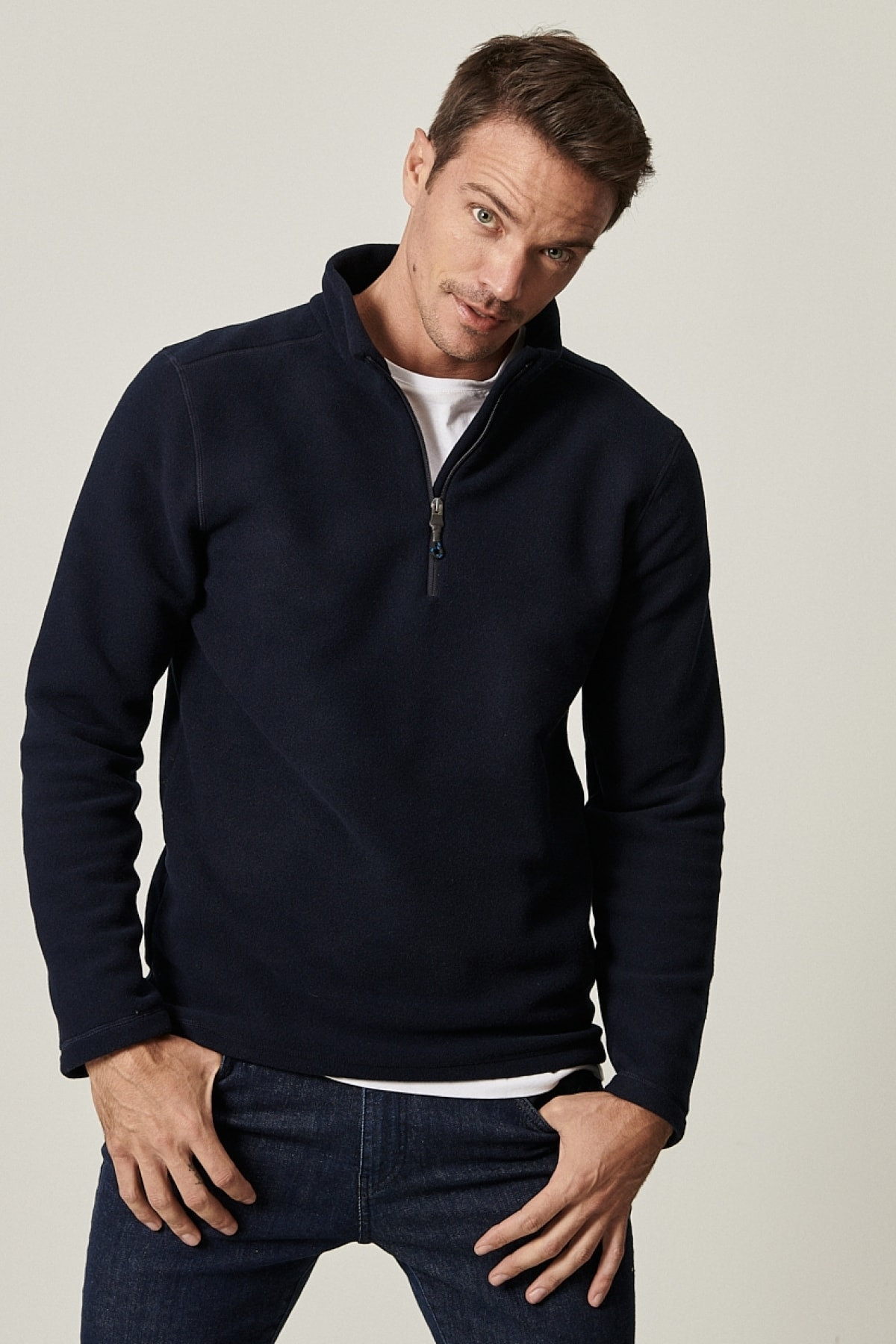Standart Fit Günlük Rahat Fermuarlı Bato Yaka Spor Polar Sweatshirt