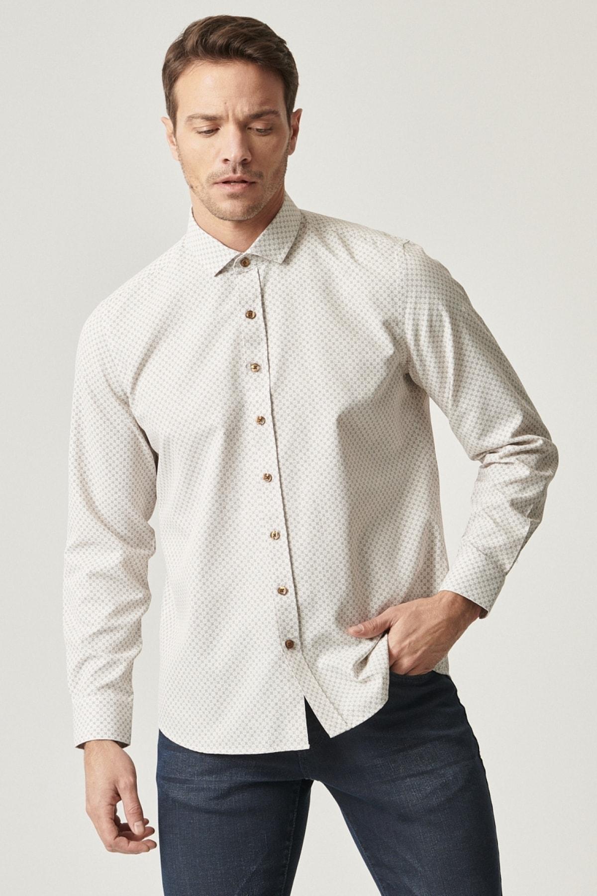 Tailored Slim Fit Dar Kesim Italyan Yaka Baskılı Gömlek