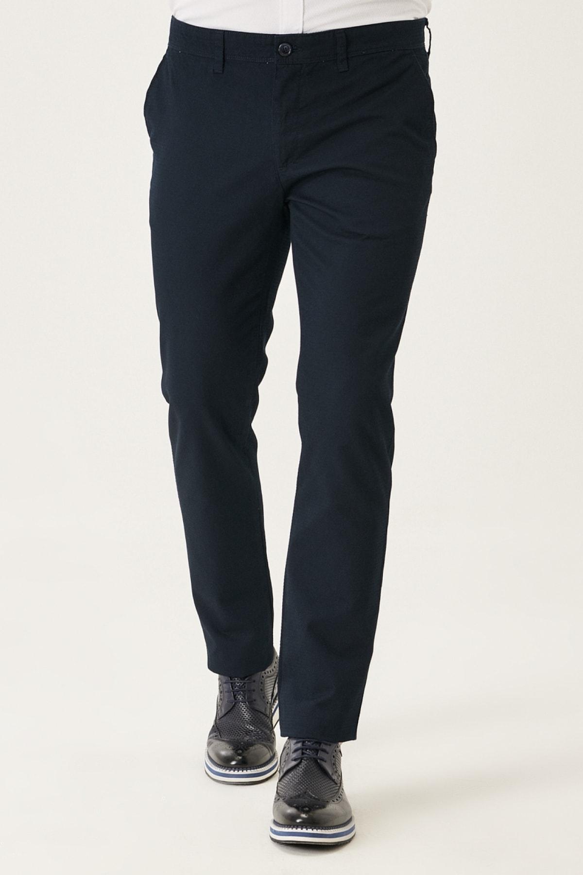 Erkek Lacivert Kanvas Slim Fit Dar Kesim Yan Cep %100 Pamuk Chino Pantolon